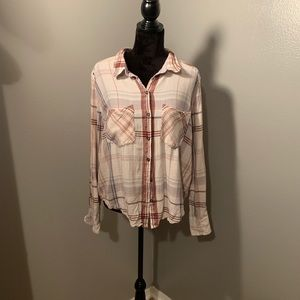 Free People plaid button down top, Sz Large